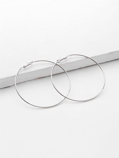 Minimalist Metal Hoop Earrings - Earrings