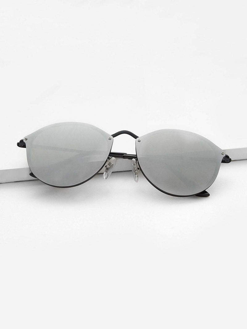 Mirror Lens Metal Frame Sunglasses - Grey - Sunglasses