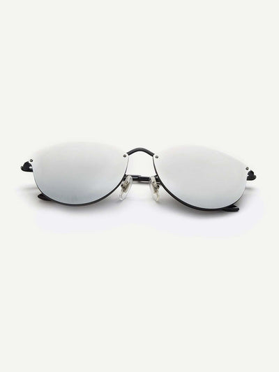 Mirror Lens Metal Frame Sunglasses - Sunglasses