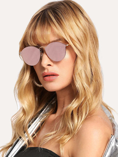 Mirror Lens Metal Frame Sunglasses - Pink - Sunglasses