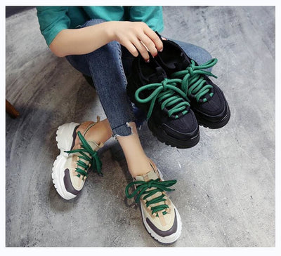 Mixed Colors Breathable Mesh Platform Sneakers - Womens Sneakers