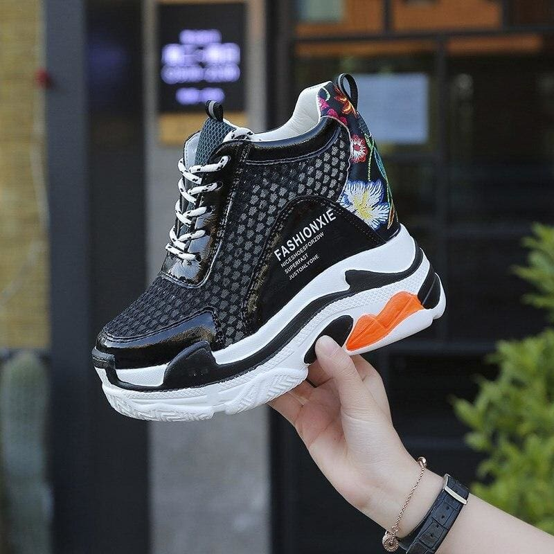 Mixed Colors Mesh Platform Sneakers - Black / 4 - Womens Sneakers