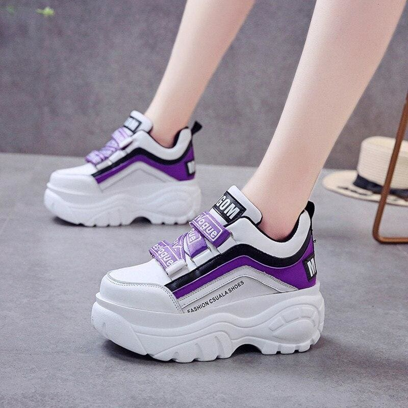 Mixed Colors Platform Sneakers - Purple / 6.5 - Womens Sneakers