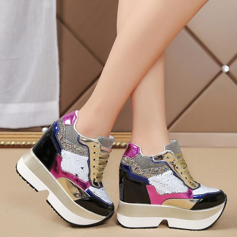 Mixed Colors PU Leather Platform Sneakers - color 2 / 5 - Womens Sneakers