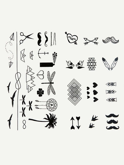 Mixed Pattern Tattoo Sticker Two Sheets With Glue 3Pcs - Beauty Tools