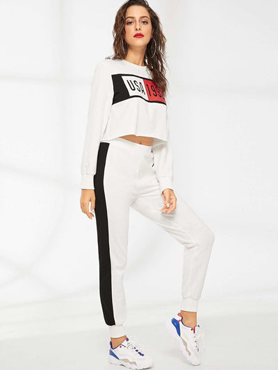 Mixed Print Crop Top & Sweatpants Set - Sportsuit