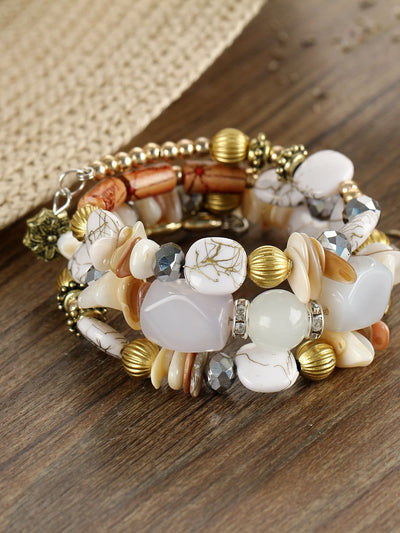 Mixed Shape Charm Beaded Layered Bracelet - Bracelets