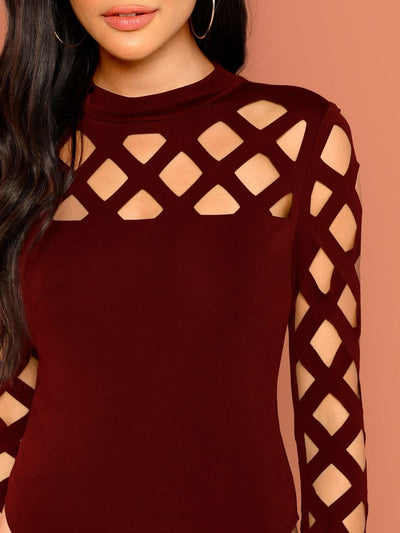 Mock Neck Geo Cut Out Bodysuit - Bodysuits