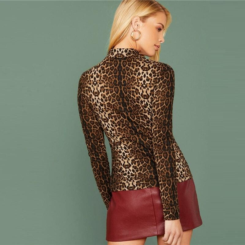Mock Neck Leopard Print Casual Top - Multi / M - Blouses