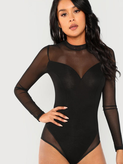Mock Neck Mesh Panel Skinny Bodysuit - Bodysuits