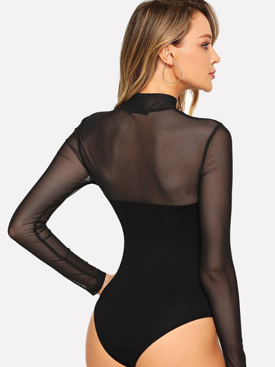Mock Neck Mesh Yoke Fitted Bodysuit - Bodysuits