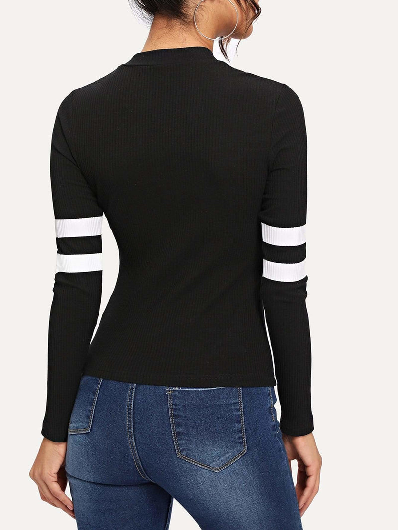 Mock-Neck Ribbed Knit Skinny Tee - Gym Tops