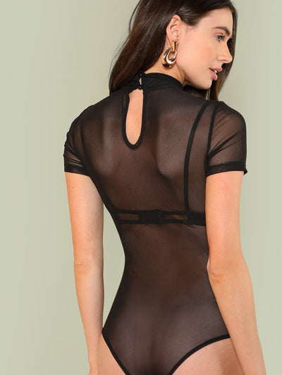 Mock Neck Sheer Mesh Bodysuit - Bodysuits