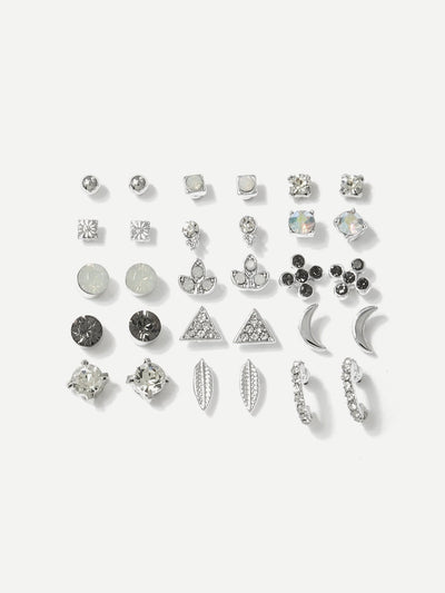 Moon & Leaf Design Stud Earrings 15Pairs - Earrings