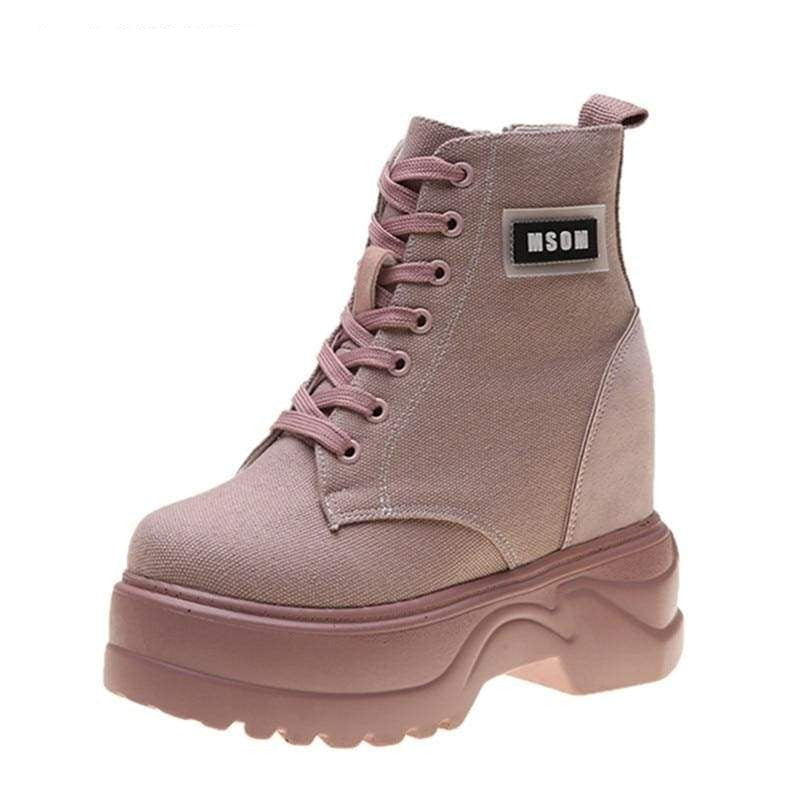 Motorcycle Ankle Platform Boots - Womens Sneakers