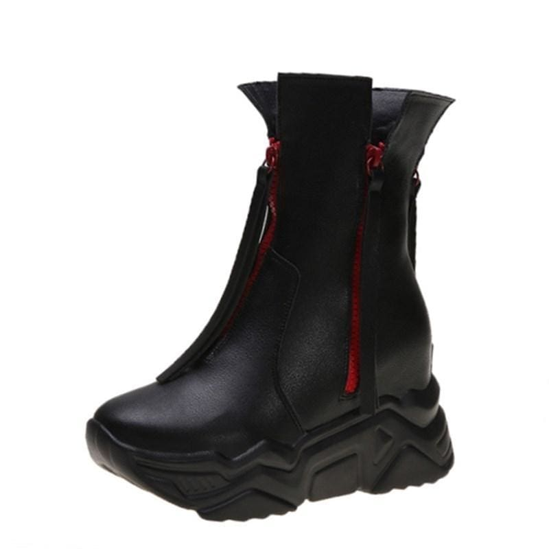 Motorcycle Ankle Zipper Tassel PU Boots - Womens Sneakers