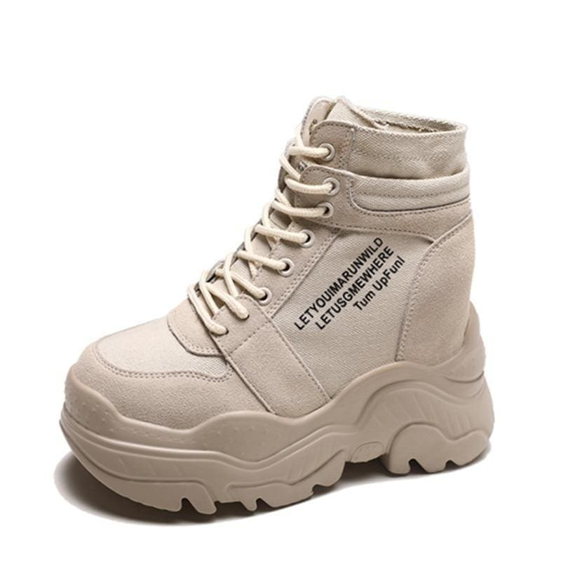 Motorcycle Boots Platform Sneakers - Beige / 8.5 - Womens Sneakers