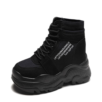 Motorcycle Boots Platform Sneakers - Black / 8.5 - Womens Sneakers