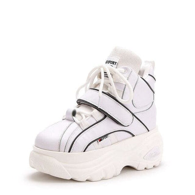 Motorcycle PU Platform Sneakers - White / 8.5 - Womens Sneakers