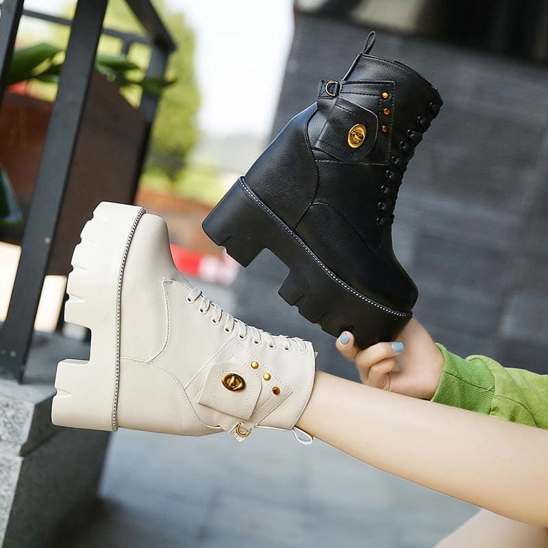 Motorcycle Warm Leather Platform Boots - Black A / 6 - Womens Sneakers