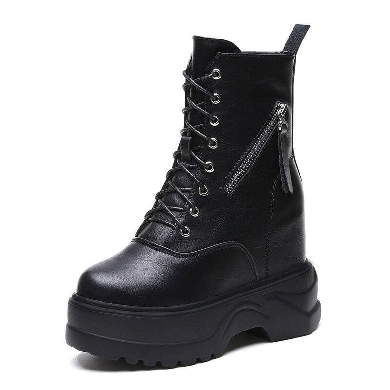 Motorcycle Zipper Ankle Platform Boots - Black / 8.5 - Womens Sneakers