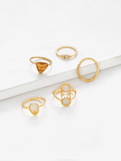 Multi Shaped Ring Set 5Pcs - Rings
