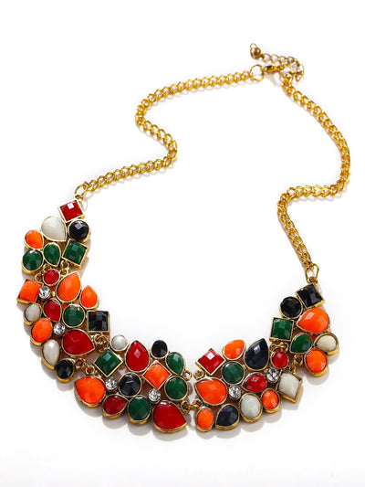 Multicolor Drop Gemstone Necklace - Necklaces