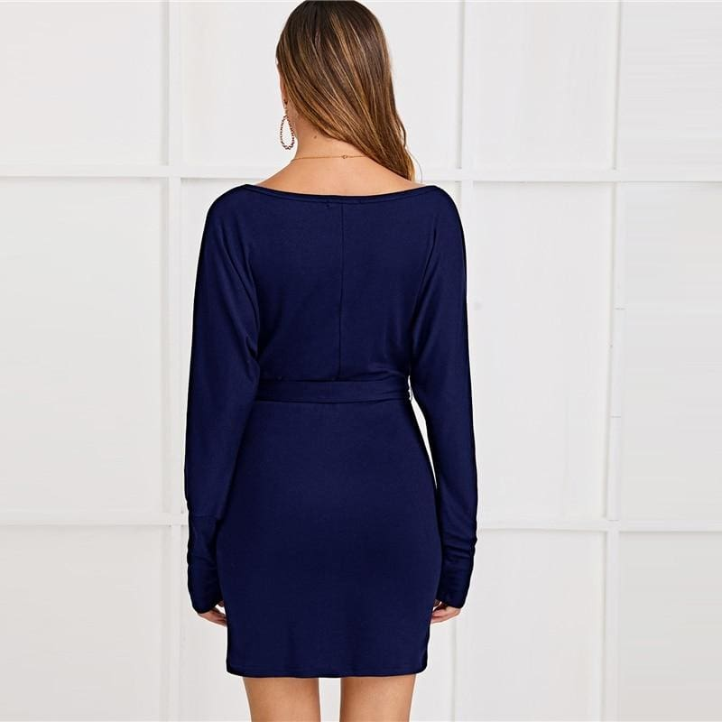 Navy Surplice Neck Pearls Beaded Belted Knitted Mini Dress