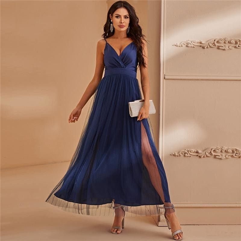 Navy Surplice Neck Split Thigh Mesh Prom Cami Maxi Dress