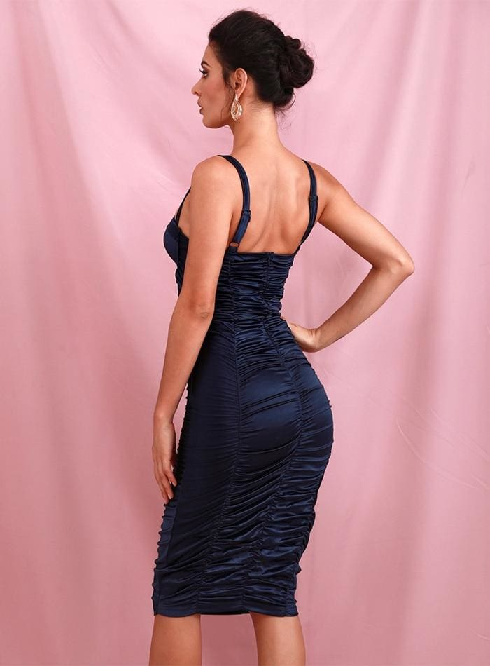 Navy Tube Top Bodycon Reflective Party Midi Dress
