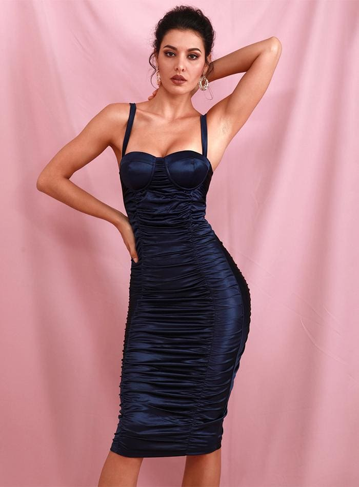 Navy Tube Top Bodycon Reflective Party Midi Dress - NAVY / XS - Dresses