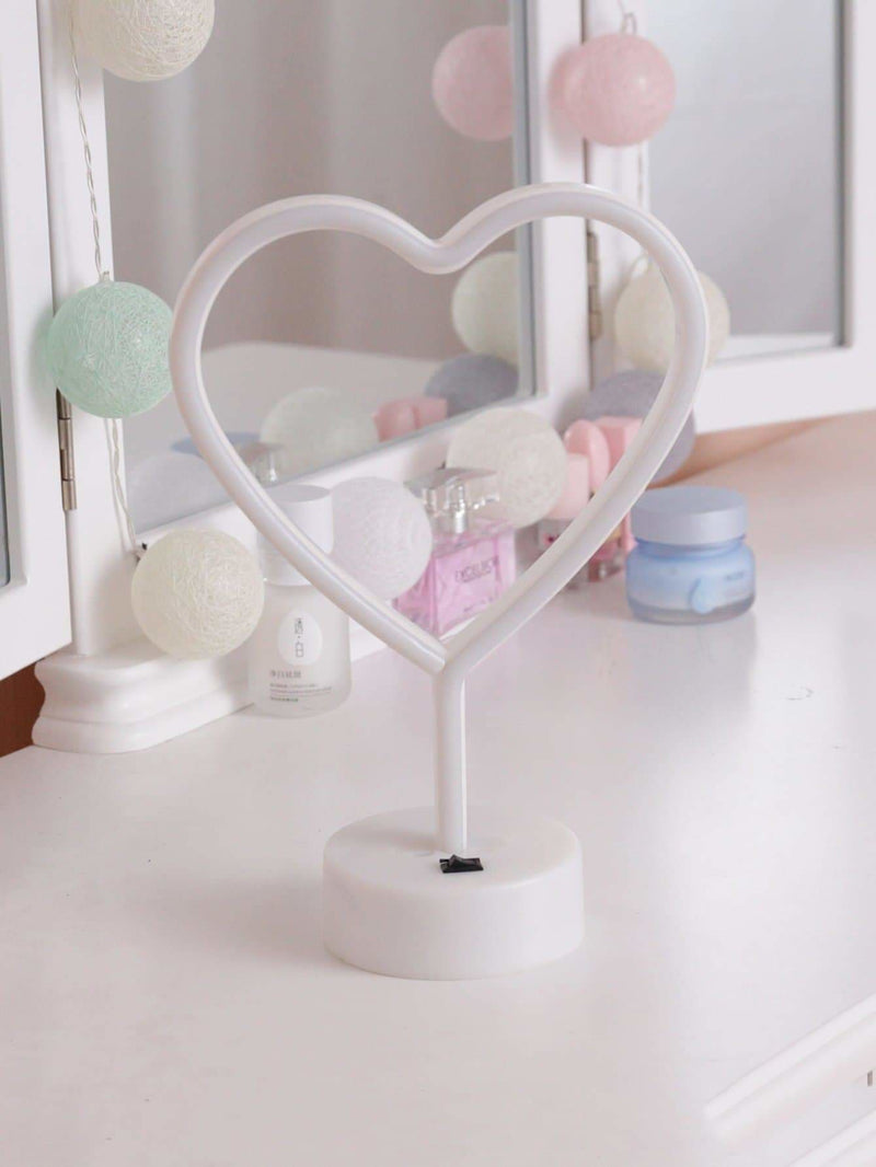 Neon Heart Shaped Table Lamp - Lighting & Lamps