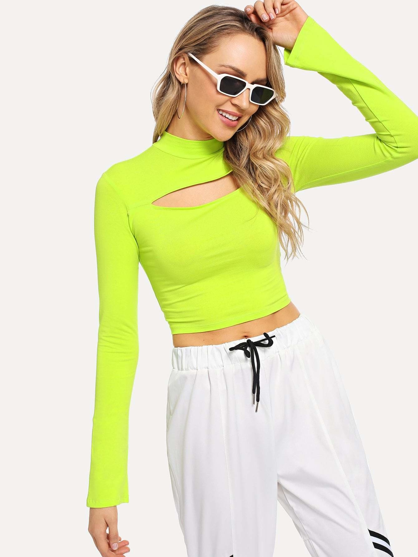 Neon Lime Cut Out Crop Tee - Gym Tops