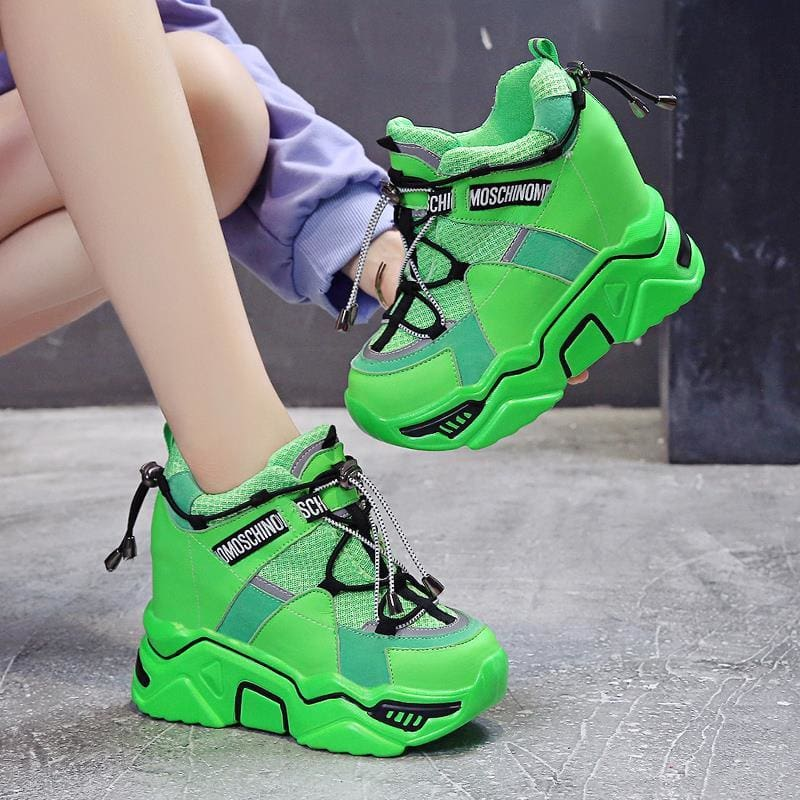 Neon Motorcycle Breathable Mesh Platform Sneakers - Green / 4 - Womens Sneakers
