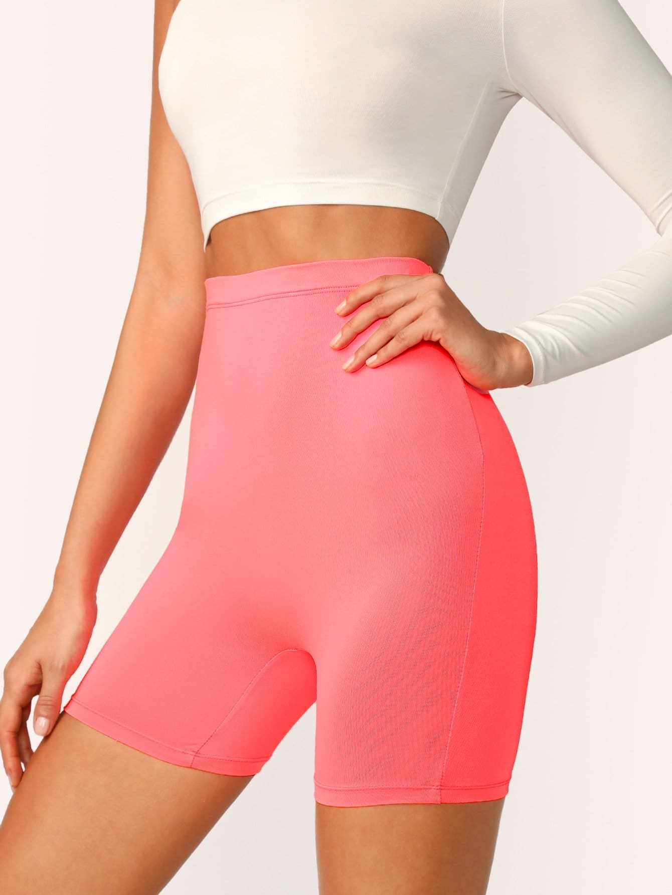 Neon Pink High Waist Cycling Shorts - Fittness Leggings