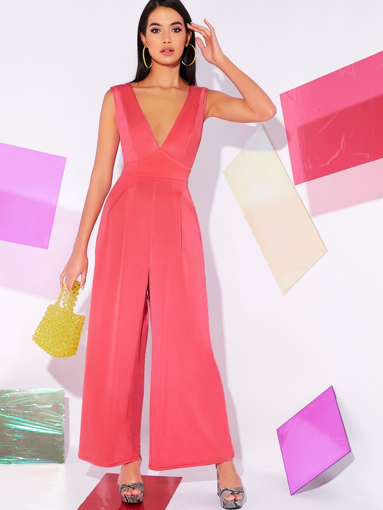 Neon Pink Plunging Neck Backless Wide Leg Jumpsuit