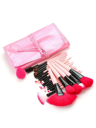 Neon Pink Professional Makeup Brush 24Pcs With Pu Bag - Makeup Brushes
