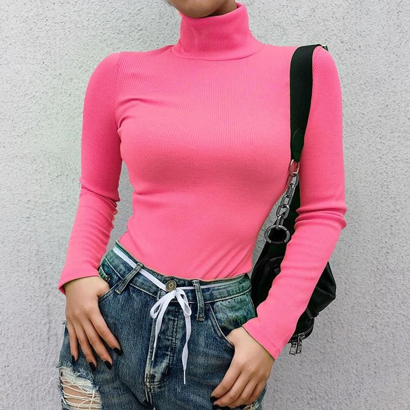 Neon Pink Ribbed Long Sleeve Turtleneck Pullover - Blouses