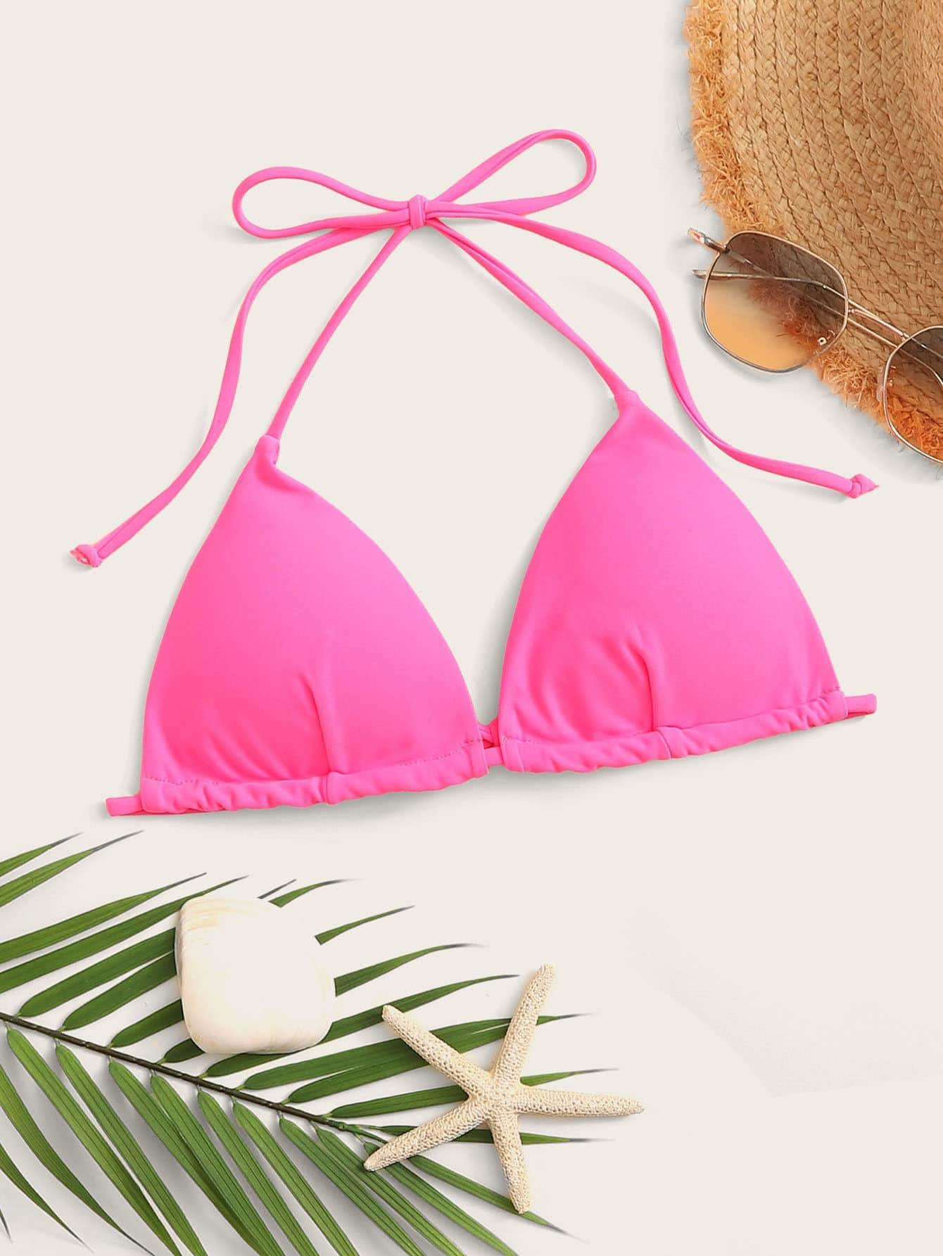Neon Pink Triangle Halter Swimming Top - S - Bikini