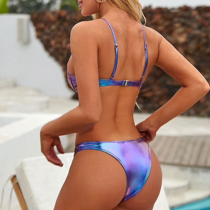 Neon Push Up Triangle Bikini Set - Blue / M - Bikini