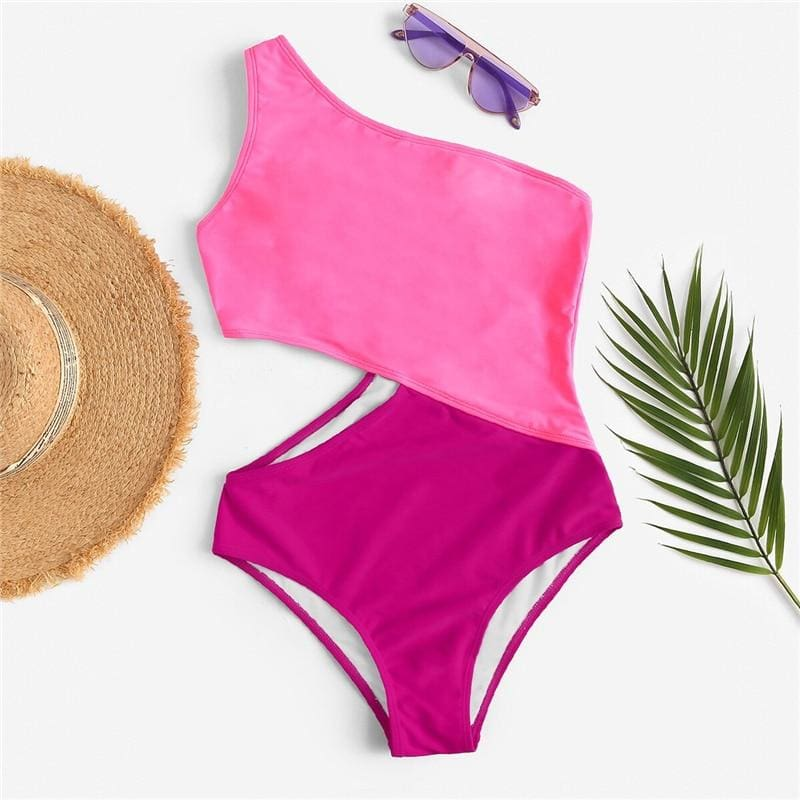Neon Yellow One Shoulder Cut Out One Piece Swimwear - Pink / S - One Piece Swimwear