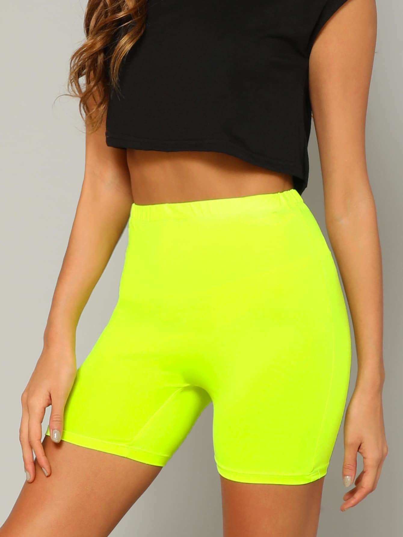 Neon Yellow Solid Leggings Shorts - Fittness Leggings