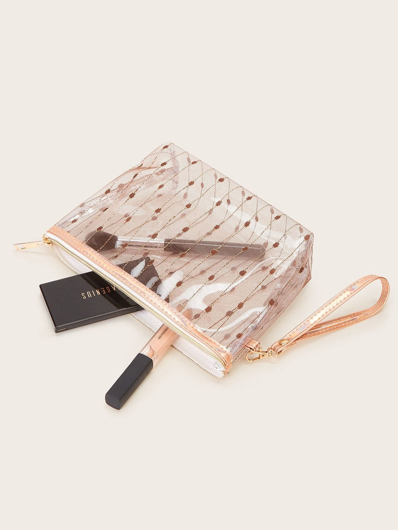 Net Pattern Makeup Bag - Makeup Bags