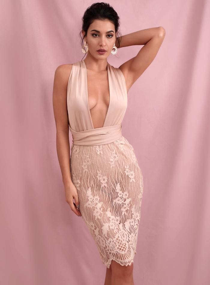 Nude Deep V-Neck Bodycon Changeable Straps Sequins Midi Dress
