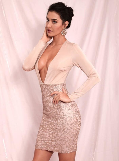 Nude Deep V-Neck Bodycon Glitter Beads Party Mini Dress - Nude / L - Dresses