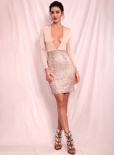 Nude Deep V-Neck Bodycon Glitter Beads Party Mini Dress - Dresses