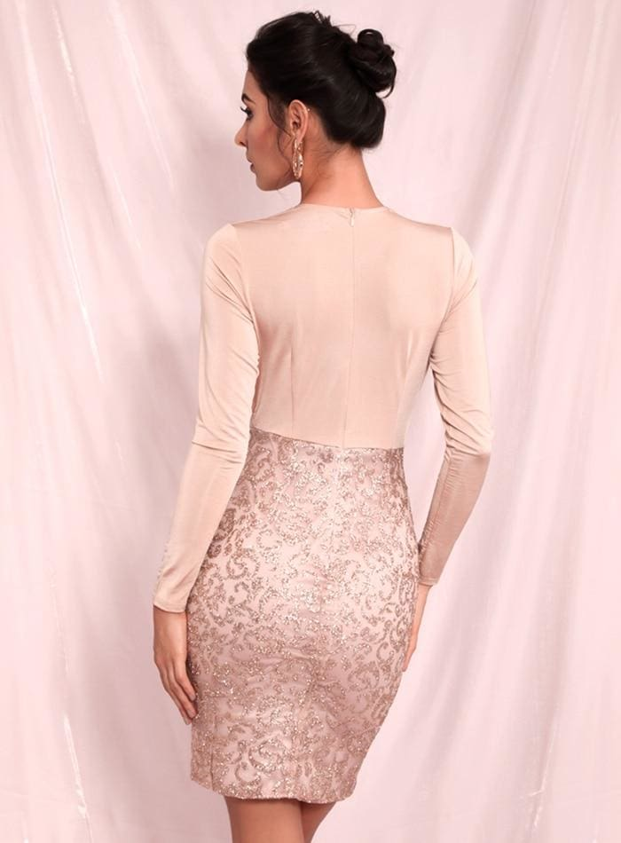 Nude Deep V-Neck Bodycon Glitter Beads Party Mini Dress
