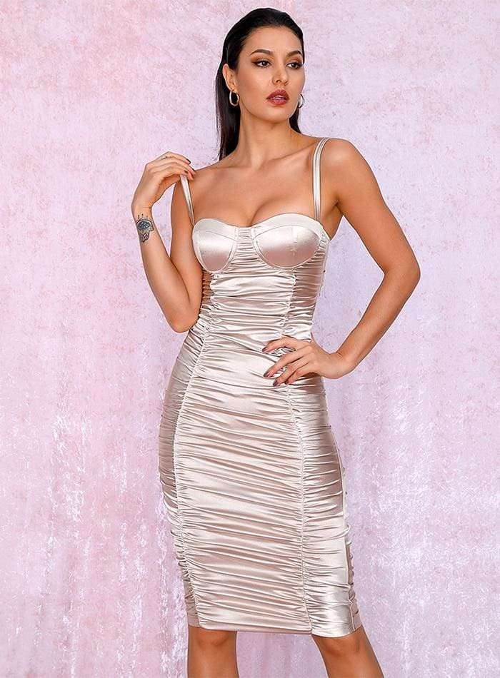 Nude Gold Tube Top Bodycon Reflective Party Midi Dress