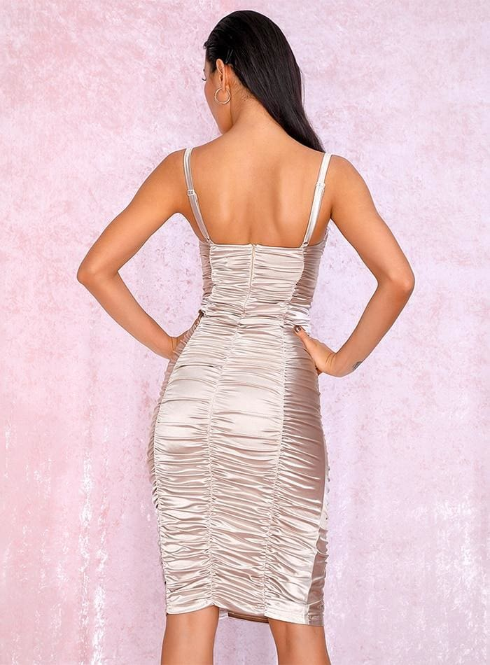 Nude Gold Tube Top Bodycon Reflective Party Midi Dress - NUDE / L - Dresses