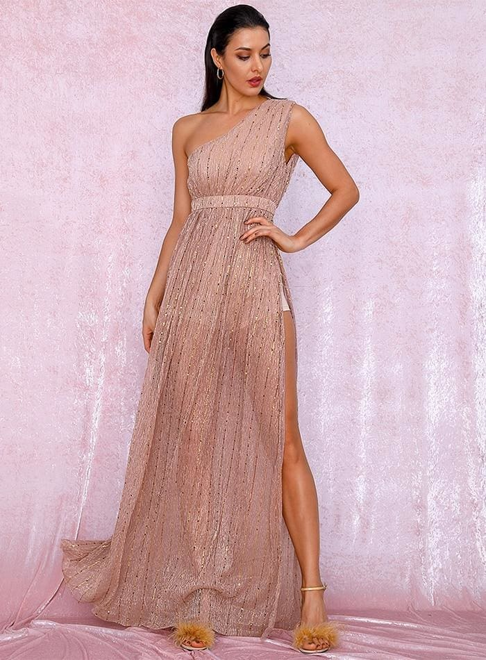 Nude One Shoulder Composite Sequin Split Prom Maxi Dress